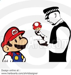 Caught by Police - SuperMario Spoof - Busted by the cops - DOWNLOAD - Vector ClipArts >> http://harboarts.com/artwork/super-mario-caught-by-police-vector-graphics_template_1397481959445T4P/ #spoof #cops #illustration #tshirts - Vector Graphic