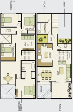 PLANOS DE CASA DE PLAYA Duplex Floor Plans, Small House Floor Plans, Dream House Plans, Small House Layout, House Layouts, Drawing House Plans, 30x40 House Plans, Narrow House Designs, Indian House Plans