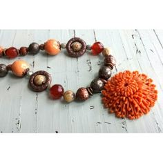 Vintage Flower Pendant necklace made with semiprecious gemstone and ceramic beads Jewelry by Jamie
