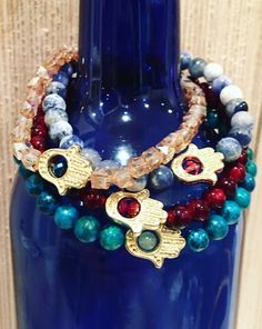 Hamsa charm stretchy bracelets.