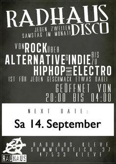 Radhaus-Disco am Sa 14.09.2013 http://www.facebook.com/events/163224237199576/