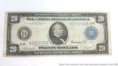 1914 Blue Seal $20 Twenty Dollar Federal Reserve Note Currency Cleveland Large