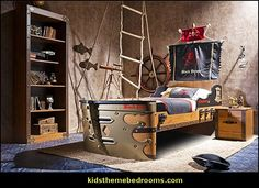 Pirate Themed Bedroom - Pirate Furniture - Captains Armada Bed