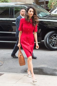 Pin for Later: You Won't Believe How Easy It Is to Steal Amal Clooney's Style on a Budget Amal's Red Dolce & Gabbana Coat Dress