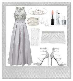 """Scintillating Silver"" by annabethschreave ❤ liked on Polyvore featuring Polaroid, Charlotte Russe, Adrianna Papell, Stuart Weitzman, Yves Saint Laurent, Boohoo, MAC Cosmetics, Clinique, Essie and Gunne Sax By Jessica McClintock"