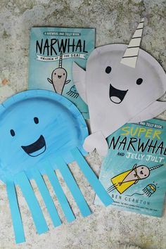Narwhal and Jelly Paper Plate Crafts kidscrafts narwhal kidsactivities Ocean Crafts, Baby Crafts, Cute Crafts, Toddler Crafts, Creative Crafts, Preschool Crafts, Kids Crafts, Rainbow Crafts, Daycare Crafts