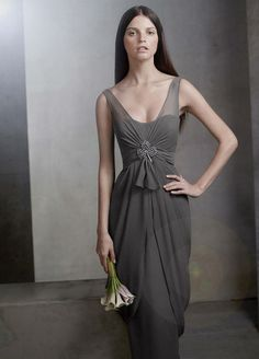V Neck Sleeveless Chiffon Column Dress -- Style VW360027 - David's Bridal dress in Charcoal $168 (needs broach (clip shown is Crystal Orchid clip VW370067)
