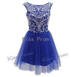 High Quality A-line Cap Sleeves Above the knee Tulle Beading Short Prom dresses Bridesmaid Dresses Evening Dresses 2014 New Arrival