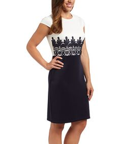 Another great find on #zulily! Cream & Navy Lace-Print Sheath Dress by ILE New York #zulilyfinds. $25