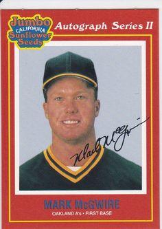 1991 Jumbo California Sunflower Seeds Mark McGwire Oakland A's Card No. 18 of 24 Baseball Cards For Sale, Sunflower Seeds, Athletics, California