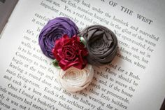Rosette Brooch Accessory Silk and Cotton roses Pin by Brydferth, $30.00