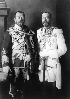 King George V and his physically similar cousin, Tsar Nicholas II, in German military uniforms in Berlin, 1913 - George and Nicky's mothers, Alexandra and Dagmar, were sisters, which explains why they looked so alike.