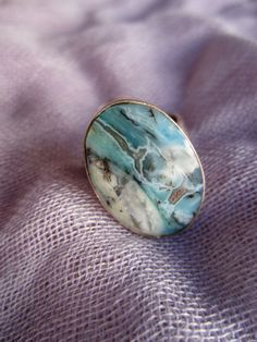 Peruvian blue opal  oval opal ring set in silver by Perunz on Etsy, $46.00