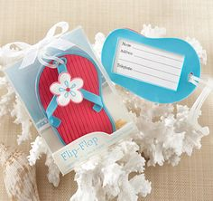 Flip-Flop Beach-Themed Luggage Tags make a fun favor for your guests!  Great for beach theme weddings, showers or any event.  With its bright colors and features, it will surely make luggage stand out from the crowd.