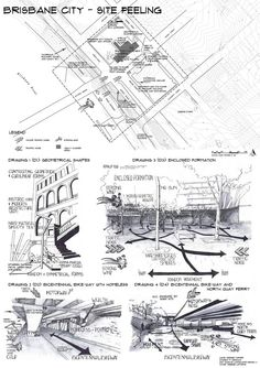Site Analysis 1of4 Brisbane CBD Hand drawn by Debbie Turner