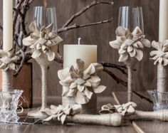 The best DIY projects & DIY ideas and tutorials: sewing, paper craft, DIY. Diy Candles Ideas Rustic Wedding set of flowers lace and rope от RusticBeachChic -Read Wedding Unity Candles, Diy Candles, Candle Centerpieces, Wedding Champagne Flutes, Wedding Glasses, Cool Diy Projects, Craft Projects, Wedding Table Decorations, Rustic Chic
