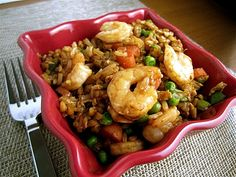 shrimp fried rice (healthy version). Made for dinner tonight. Delicious!!!
