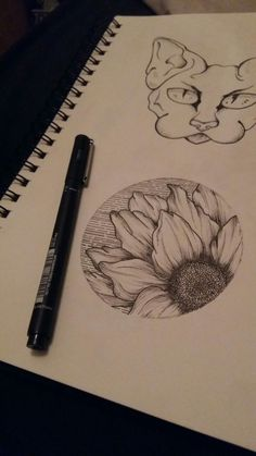 Sunflower and sphynx cat tattoo design.