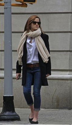 Emma Watson: scarf + shades + white button down + folded pegged jeans + fall outfit