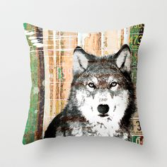 really cool wolf pillow tan, realistic