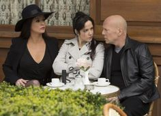 Catherine Zeta-Jones, Mary Louise Parker, Bruce Willis ~ Courtesy of Summit Entertainment. Red2. Tense Tea Party Threesome.
