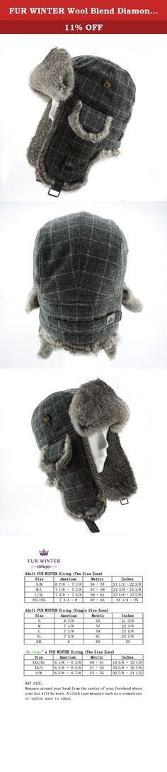 FUR WINTER Wool Blend Diamond Check Plaid Rabbit Fur Aviator Bomber Trapper Trooper Hat GRY S/M. FUR WINTER Aviator Hat, Luxury Winter Accessories Since 1955. We put our half century professional and built our reputation on these hats which are designed for warmth and style. This FUR WINTER Rabbit Fur Aviator Hat offers high quality with stylish design based on classic model. It not only keeps your head warm and comfortable in cold winter, but does also make you fashionable and…