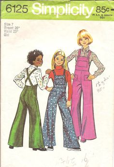Vintage Sewing Pattern Girls Bell Bottom Overalls  I am sure my mother made these!