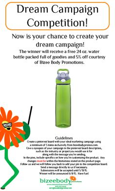 bizeebodypromos.com's: Pin it to Win it Contest!  Summer is right around the corner and wouldn't it be great to get this water bottle?  Share with all your friends.  We're looking forward to seeing your entries.