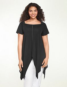 Handkerchief Hem Tunic by Isabel Toledo: Matte jersey tunic with sateen trapunto shoulder detail, handkerchief hem and front and back satin seaming. Short sleeves set off with inset slits. #LaneBryant #LBToledo