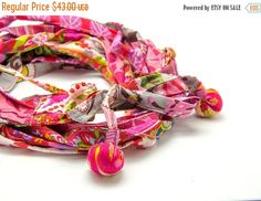 SUMMER SALE Hot pink African boho headband  Fabric by ATLIART