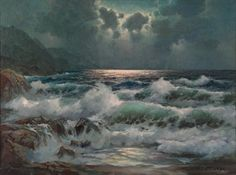 silver moon - Seascapes Paintings by Alexander Dzigurski  <3 <3