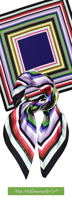 Johnathan Saunders Striped Silk-Twill Scarf 2015 - Accessories Show™