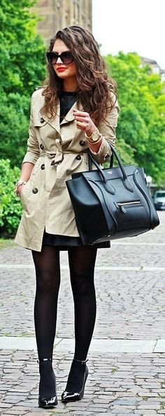 Fall / Winter - street chic style - office wear - work outfit - little black dress + black tights + black patent leather stilettos + kaki trench coat + black handbag + sunglasses + red lips... - Street Chic Looks
