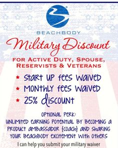 Are you a veteran, active military, or a military spouse? You can join Team Beachbody as a coach without having to worry about monthly service fees! Start a new adventure, for less!