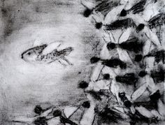 Original Charcoal Drawing 'Angels' Swarm' by SBGallery on Etsy, $70.00