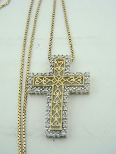 Beautiful 14K Yellow & White Gold Diamond Cross & Box Chain Necklace M309