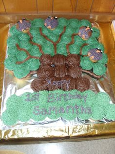 Tree with Owls Cup Cake Cake