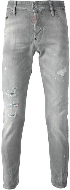 $515, Grey Ripped Skinny Jeans: DSQUARED2 Mb Jeans. Sold by farfetch.com. Click for more info: http://lookastic.com/men/shop_items/65812/redirect