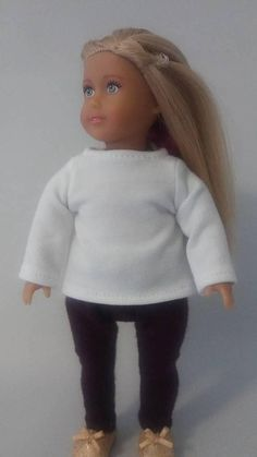 "Fits 6.5/"" inch MINI American Girl Doll or Boy Clothes T-shirt Denim Jeans Pants"
