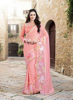 Snazzy Pink Designer Saree
