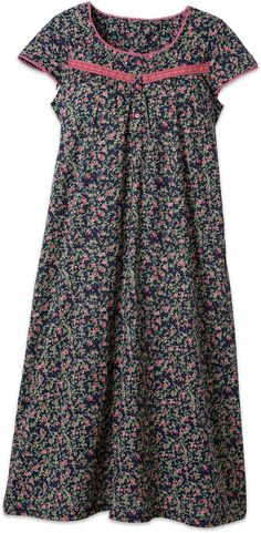 This understated Eileen West cotton navy nightgown with flowers features breathable cotton fabric, pink lace trim and dainty buttons. Perfect for fall weather. Dress Neck Designs, Blouse Designs, Chudidhar Designs, Christmas Nightgowns, Cotton Nighties, African Wear Dresses, Island Outfit, Hippy Chic, Night Dress For Women