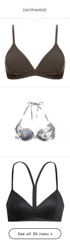 """swimwear"" by marissa-843 ❤ liked on Polyvore featuring swimwear, bikinis, bikini tops, tops, swimsuits, underwear, neutrals, bathing suits two piece, tankini bathing suit tops and swimming costume"