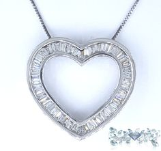 Cut:Baguette   Carat:1.68   Color:G-H   Clarity:SI1/SI2   Grams:5.1  Metal Purity:14Karat White   Type:Pendant/Chain Price:$2,800.00   100% Natural earth mined diamond I do not sell enhanced diamonds  Ships out in an elegant jewelry box for your pleasure