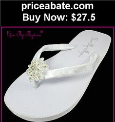 Wedding-Shoes-And-Bridal-Shoes: Rhinestone Bridal Flip Flops Wedding Sandals Flat White Shoes Bow Satin Bride - BUY IT NOW ONLY $27.5