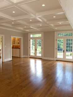Red Oak Floor Design and coffered ceiling, Pictures, Remodel, Decor and Ideas. Red Oak Floors, Hardwood Floors, Oak Flooring, Maple Flooring, Flooring Sale, Flooring Ideas, Family Room Design, Family Rooms, Floor Design