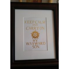 Keep Calm and Carry On My Wayward Son Gold Foil Print, Wall Art, Home... ($10) ❤ liked on Polyvore featuring home, home decor, wall art, gold home accessories, gold wall art, gold home decor and keep calm wall art