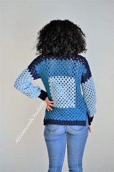 Granny Square Crochet Long Sleeve Blouse/Sweater