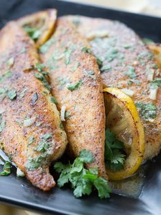 Lemon Butter Tilapia is infused with a hint of tart lemony cilantro and sweet creamy butter to create this delicious dish. Complete the meal with a side of Minute White Rice. Baked Tilapia Lemon, Lemon Butter Tilapia, Tilapia Recipes, Fish Recipes, Seafood Recipes, Fish Dinner, Lemon Recipes, Seafood Dishes, Tasty Dishes