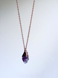 Amethyst crystal necklace  Raw amethyst crystal by HAWKHOUSE