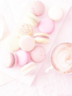 pastel macarons with coffee (overexposed photography)